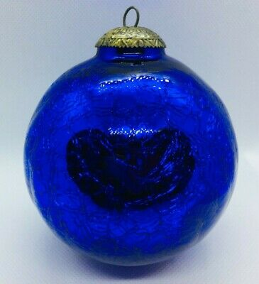 Vintage German Hand Blown Mercury Glass Christmas Ornament Cobalt Blue