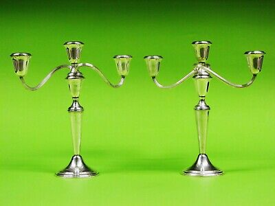 Pair Of Gorham Weighted Sterling Silver Candelabra / Candle Holders 1661.2 grams