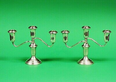 Pair Of Reed & Barton Weighted Sterling Silver Candelabra / Candle Holders