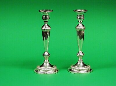 Pair Of very heavy Weighted Sterling Silver Candle Holders, 1329.4 Grams.