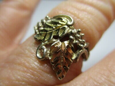 Sterling Silver 925 Estate Vintage Yellow & Rose Gold Leaves Band Ring Size 7