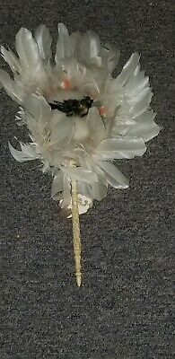 Antique Victorian Taxidermy Real Bird Hand Fan Downy Feather Bovine Bone