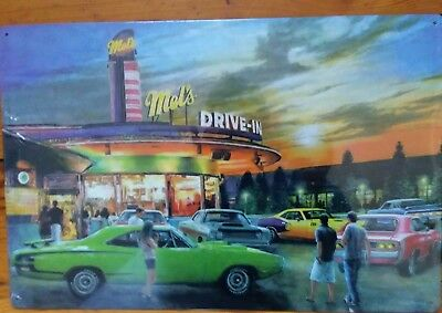 Mels Drive In Sign Muscle Cars Retro Kevin Daniel Vintage Metal Advertising Tin