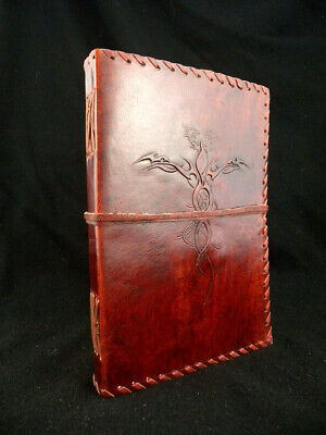 Handmade Large Leather Diary Journal Sketchbook - DRAGONS design - Unlined Paper