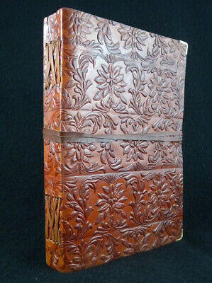 Large Handmade Leather Journal Diary - Hand-Tooled TUDOR Design - Unlined Paper