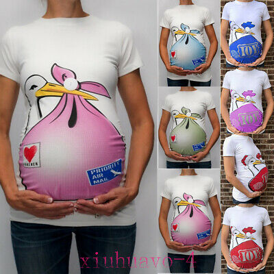 Maternity Cute Funny Pattern Print Short Sleeve Casual T-shirt Pregnant Tops in