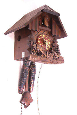 Black Forest Cuckoo Clock with & Gong Wall Pendulum Carved Wood