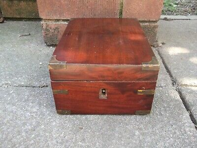 Antique brass banded wood box - Jewellery/stationery/writing etc - Treen