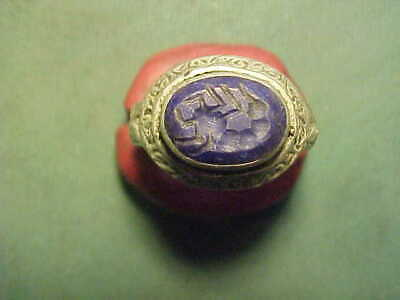 SPECIAL OFFER..Islamic zoomorphic intaglio ring  with lapis lazuli stone.