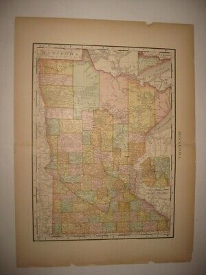 Fine Antique 1895 Minnesota Dated Map Railroad & Stops St Paul Minneapolis Rare