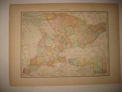 FINE ANTIQUE 1895 ONTARIO canada DATED MAP RAILROAD & STOPS FAIRFIELD COUNTY nr