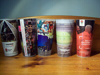 5 Off Different Twickenham England Rugby Reusable Plastic Pint Cups/Glasses A