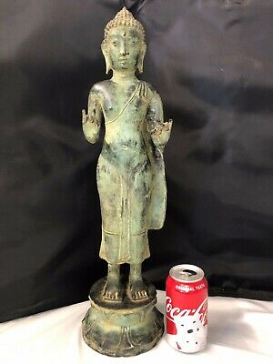 "Vintage Antique Bronze Chinese Tibetan Nepal Buddha 21"" high"