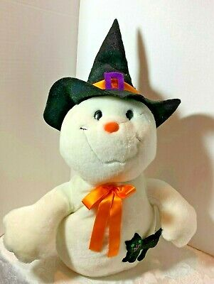 Plush Ghost with Witch's Hat and Black Cat by Kids of America Old New Stock