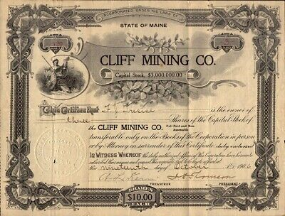 CLIFF MINING CO. 1906 stock certificate