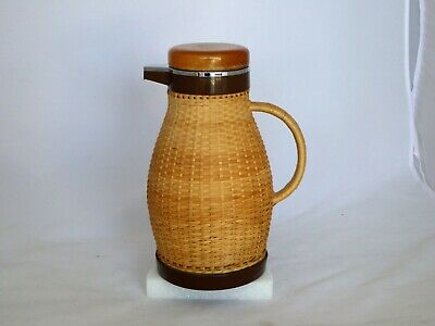 Vintage Corning Glass Insulated Carafe Wicker Pitcher Coffee/Tea Thermos Server