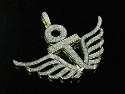 1Ct Round Cut Iced Icy Diamond Winged Ankh Cross Pendant 14K Yellow Gold Over