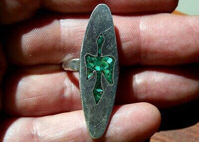 Large Old Pawn Zuni Handmade Sterling Silver & Turquoise Stone WATER BIRD Ring