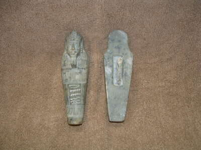 Rare Egyptian Ushabti Stone Coffin Mummy Burial Sarcophogus With Mummy Inside