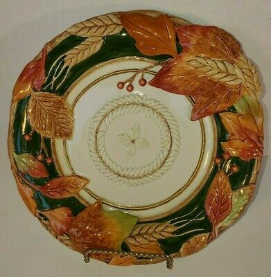 """Fitz and Floyd Huntington 10"""" Canape Plate or Candy Dish Autumn Colors"""