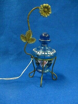 Victorian French Blue Glass W/ Hand Painted Enamel Perfume Bottle & Brass Holder