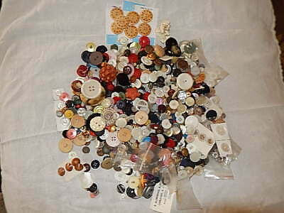 Lot of Vintage Antique Buttons Mix Nearly 2 Lb crafts Sewing Decorations