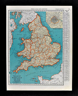1938 McNally Map England Wales London Liverpool Bristol Cardiff Great Britain UK