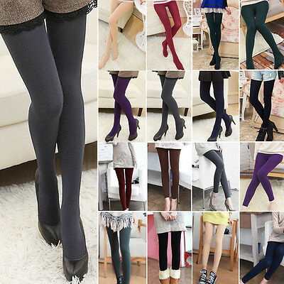 Womens Girl Fleece Lined Plain High Elasticity Waist Warm Solid Basic Leggings