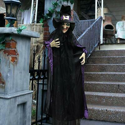 "JOYIN Life Size 74"" Hanging Animated Witch LED Eyes Spooky Sounds Halloween NEW"