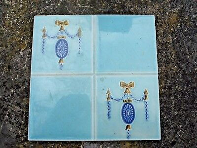 Antique Tile By Tr Boote.  Victorian / Edwardian Art Nouveau. Reclaimed