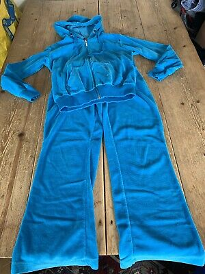 Wonderful BOOGY LONDON Turquoise Blue Velour Hoodie & Joggers Tracksuit 9-10