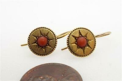 PRETTY ANTIQUE LATE VICTORIAN ENGLISH 18K GOLD CORAL STAR EARRINGS c1890
