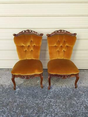 Pair Of Italian Made French Louis Style Gold Velvet Mahogany Bedroom Chairs.