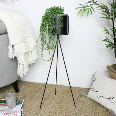 Tall black metal flower plant stand planter pot industrial modern retro home