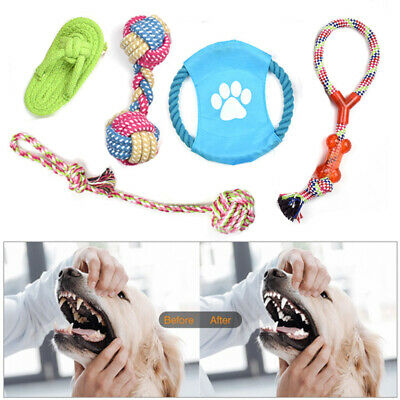 5/10x Assorted Pet Dog Toys Squeaky Chew Rope Ball Rubber Novelty Toys Bulk Deal