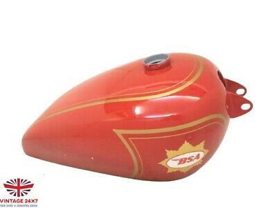 BSA B31 RED PAINTED STEEL GAS TANK WITH BRASS CAP & tap- NUO