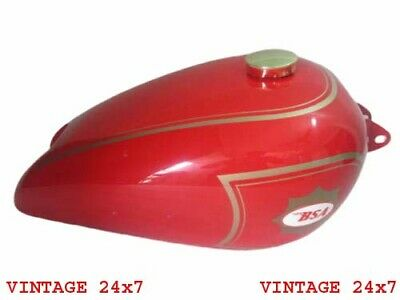 Bsa B31 Red Painted Aluminum Gas Tank With Brass Cap & Tap - N