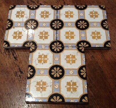 3 x Antique Vintage Mintons China Works Victorian Floor Tile Free P&P