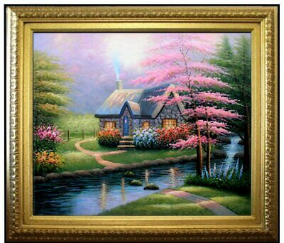 Framed Quality Hand Painted Oil Painting, Floral Arch Cottage 20x24in