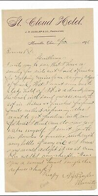 1896 Letter St. Cloud Hotel, Marietta, Ohio