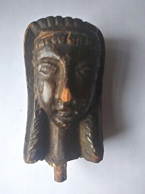 Hand Carved Ancient Antique Egyptian Dark Wood Carved Head w