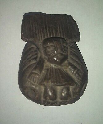 Pre-Columbian Artifact Dark Clay Human Figure Whistle
