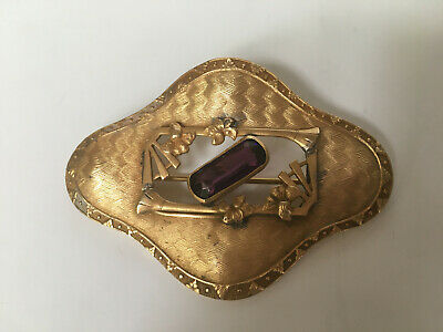 Antique Victorian Sash Pin Brooch with Amethyst Glass stone in Center Open Work