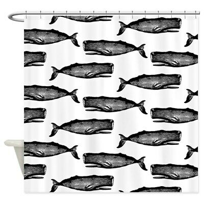 1556173151 CafePress Vintage Whale Pattern White Shower Curtain