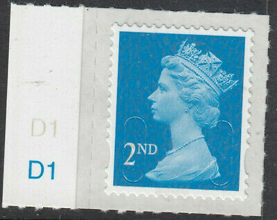 GB 2015 2nd CLASS SELF ADHESIVE MACHIN CODE M15L CYLINDER D1 on SELVEDGE MNH