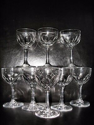 Set of 8 Victorian crystal sherry port small wine glasses wheel cut lens antique