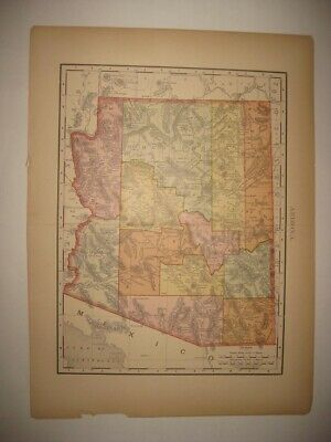 Antique 1895 Arizona Dated Railroad & Stops Map Phoenix Detailed Superb Rare Nr