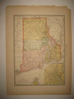 Antique 1895 Rhode Island Dated Railroad & Stops Map Providence Block Island Nr