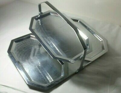 Chase Triple Tray 1930's Art Deco Chrome folding 3 tier serving tray unsignec