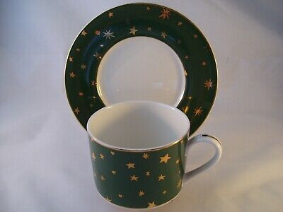 Sakura Holiday Dinnerware Galaxy Green Cup & Saucer Set Fine Porcelain 14K Gold